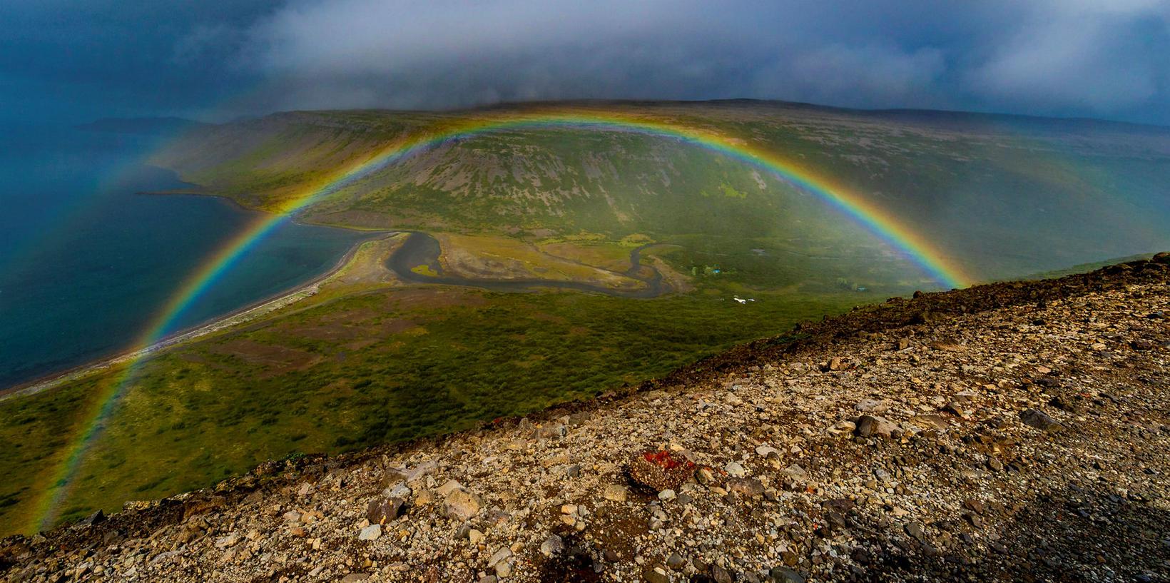 A rainbow in Arnarfjörður fjord.