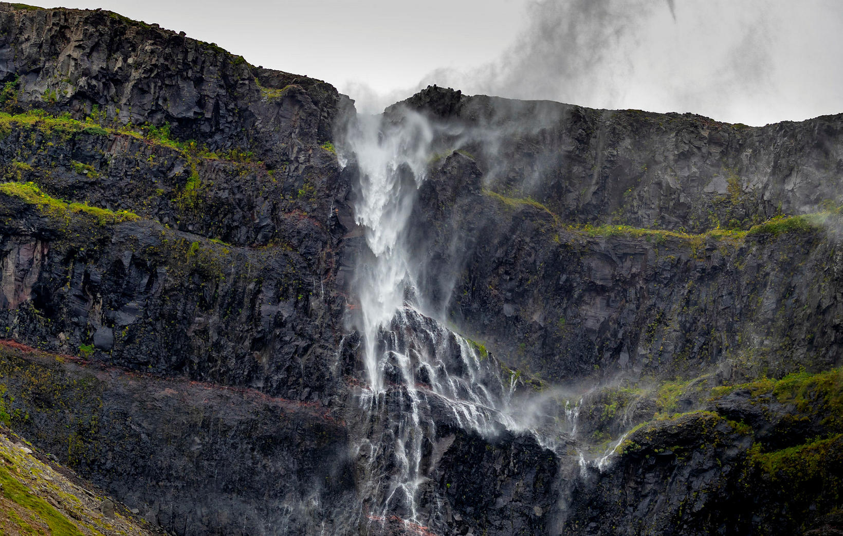 A waterfall by Rauðisandur, on a windy day.