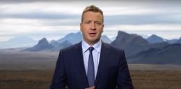 Ávarpaði heimsþing SÞ með Ísland í bakgrunni