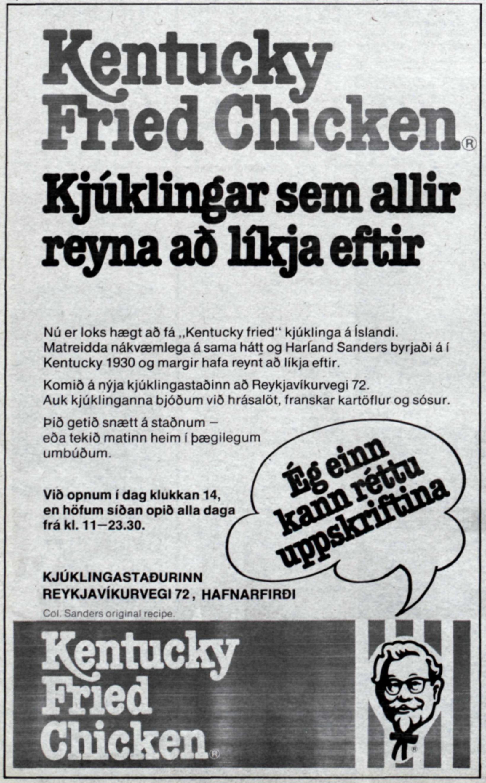 Fyrsta blaðaauglýsing KFC sem birtist í fjölmiðlum fimmtudaginn 9. október …