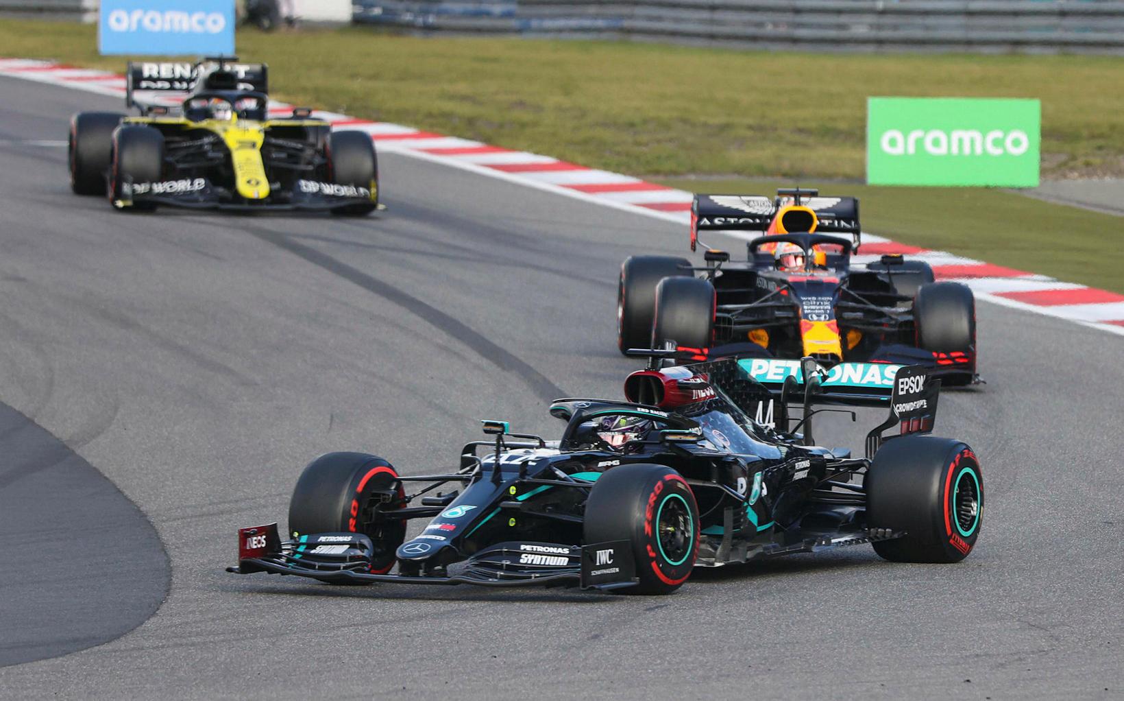 Fyrstu þrír á lokahringjunum í Nürburgrinig. Frá vinstri: Daniel Ricciardo …