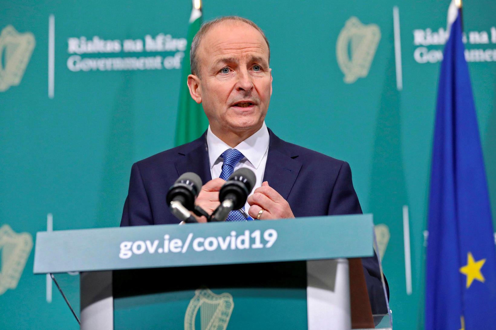 Forsætisráðherra Írlands, Micheal Martin, kynnti ákvörðunina á blaðamannafundi í gær.