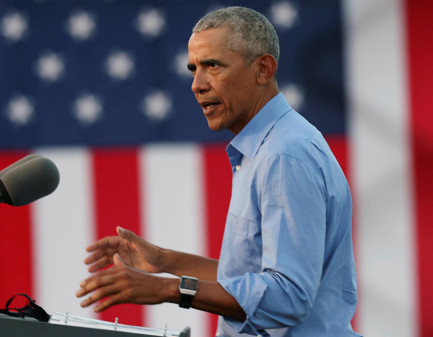 Barack Obama á kosningafundinum.