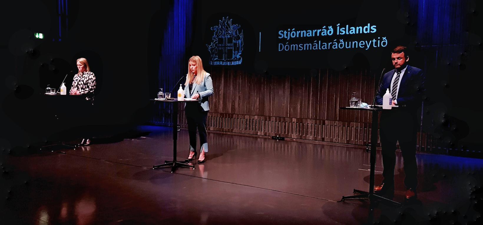 Katrín Júlíusdóttir, Áslaug Arna Sigurbjörnsdóttir and Teitur Már Sveinsson at …