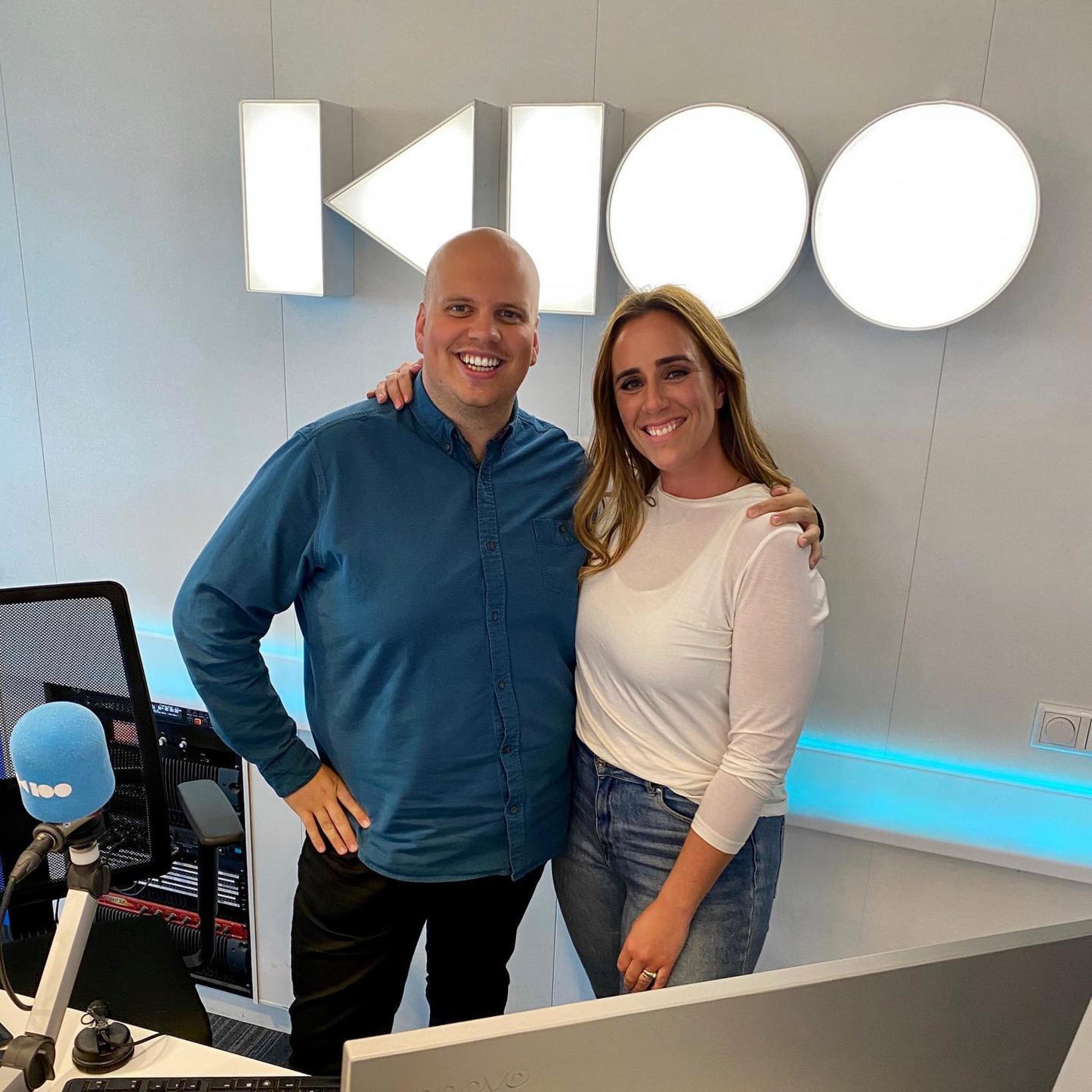 Siggi Gunnars og Eva Ruza í studíói K100.