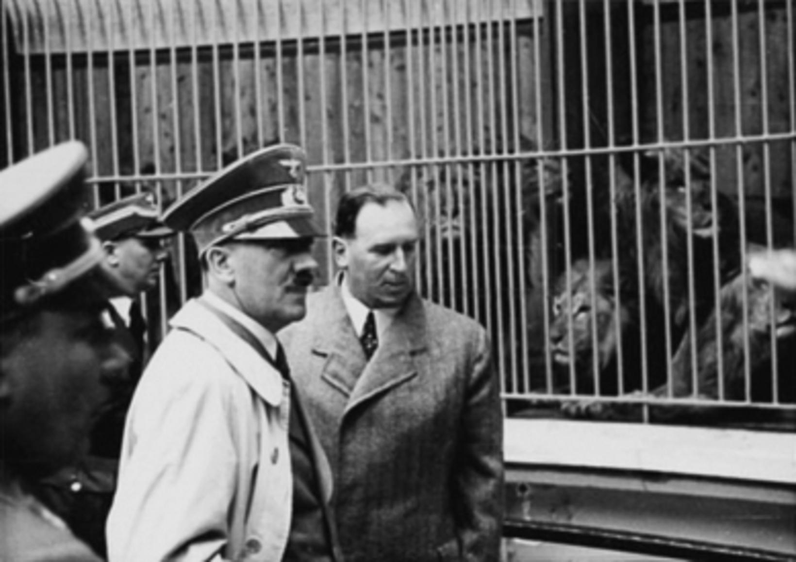 Adolf Hitler sést hér ásamt borgarstjóranum Willy Liebel í dýragarðinum …