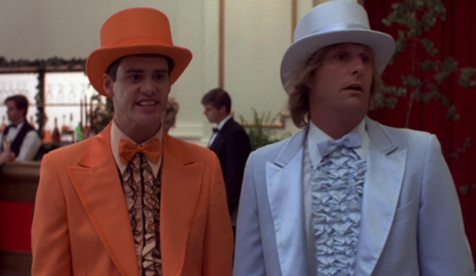 Jim Carrey og Jeff Daniels í búningum sínum.