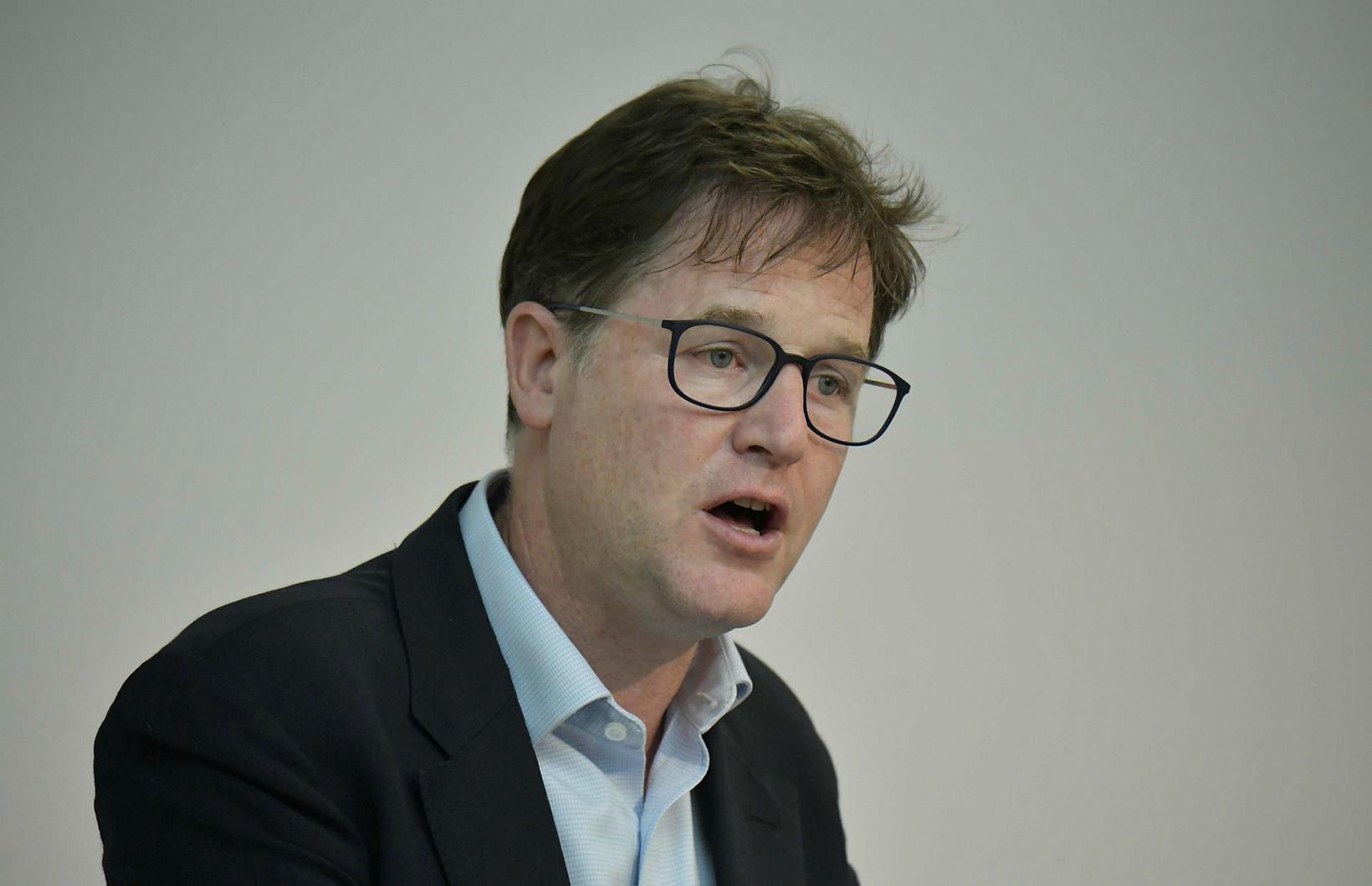 Nick Clegg, aðstoðarforstjóri Facebook og fyrrverandi varaforsætisráðherra Bretlands. Hann segir …