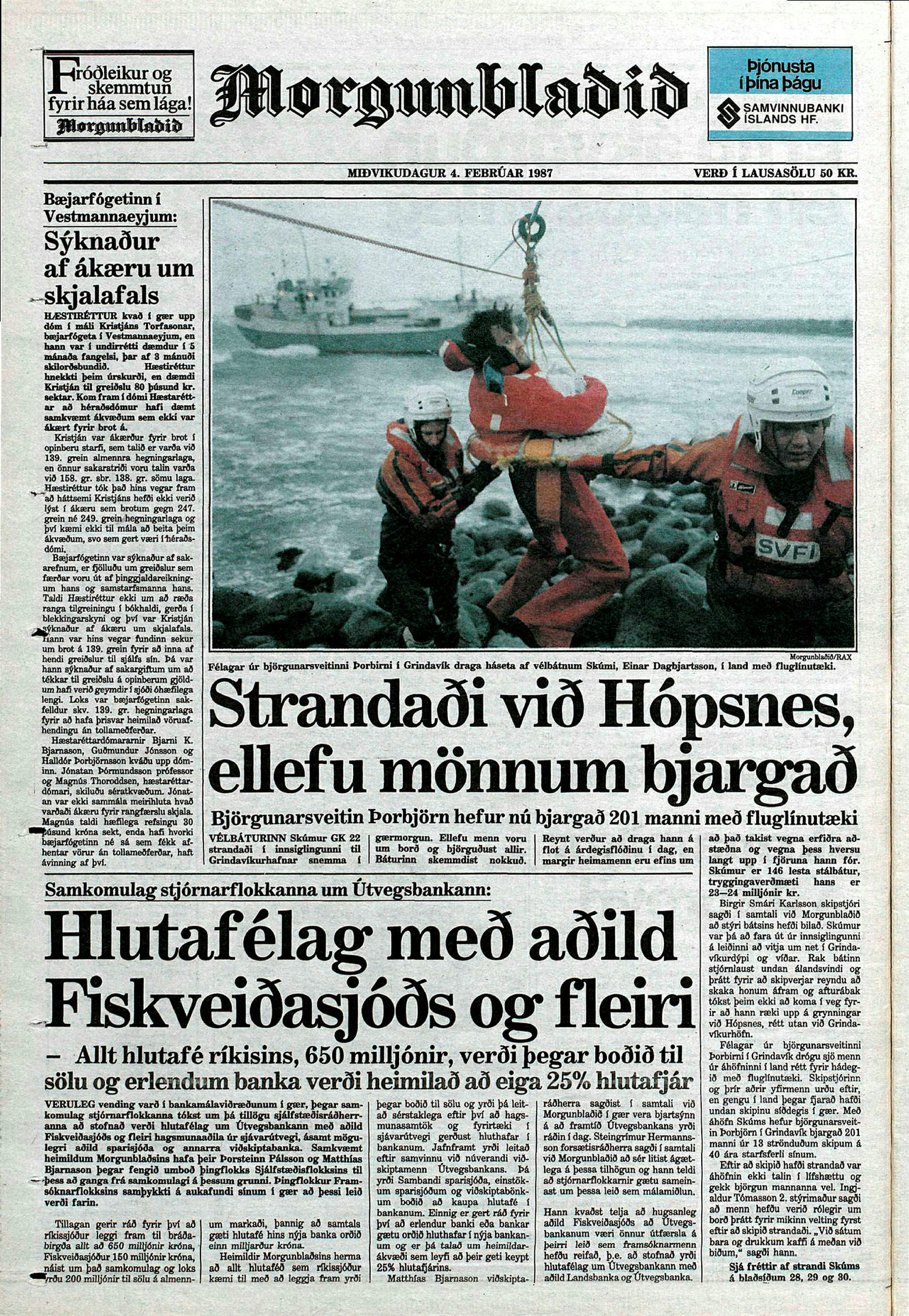 Report of the rescue of 11 fishermen by Þorbjörn. Photo …