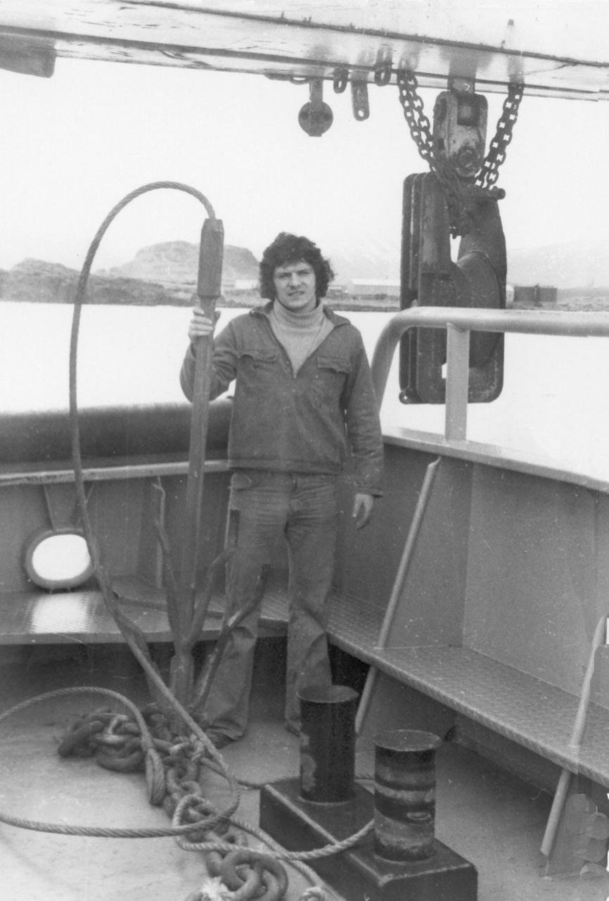 Halldór með togvíraklippur árið 1975.