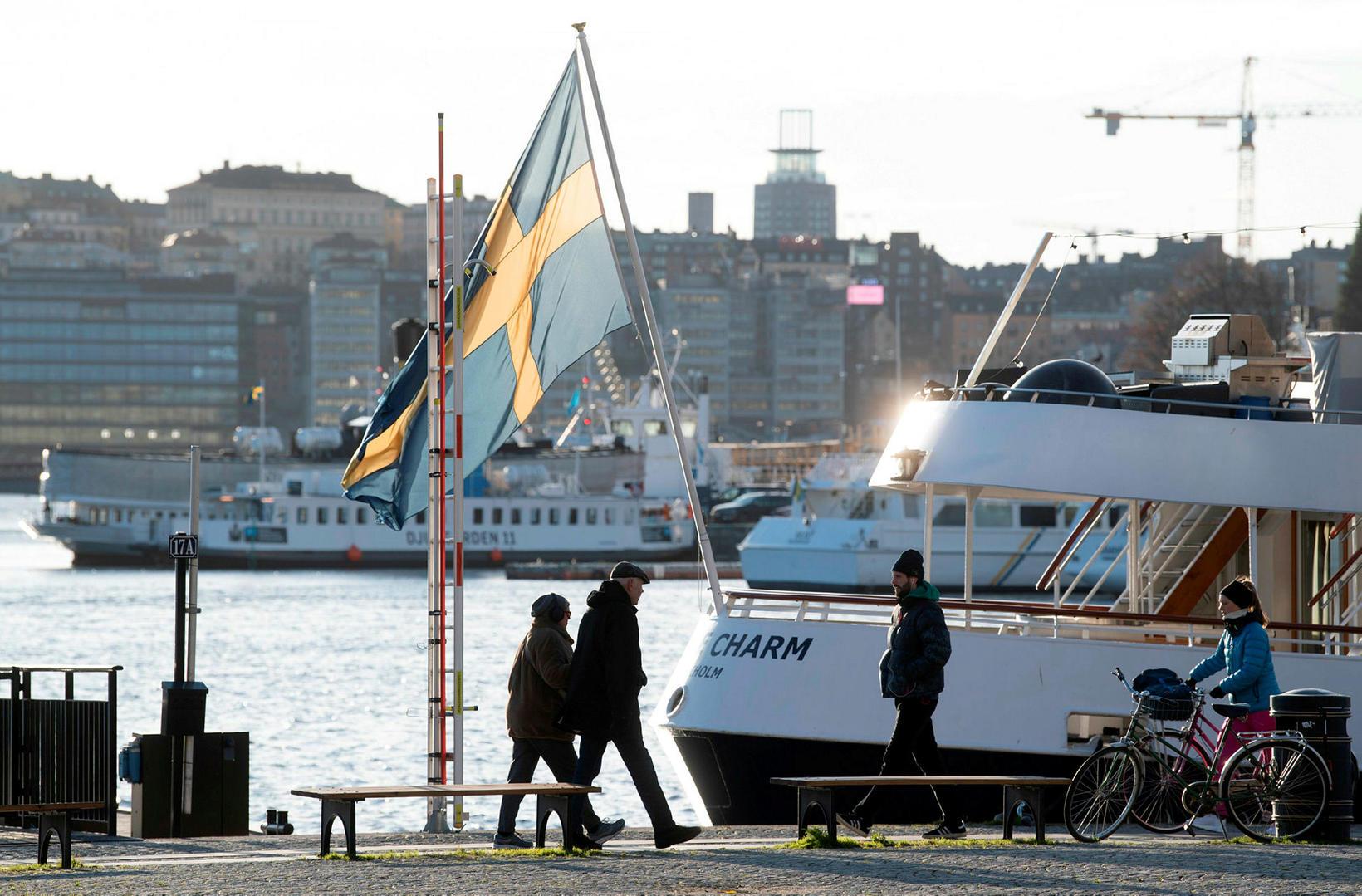 Strandvegurinn í Stokkhólmi á köldum nóvemberdegi.