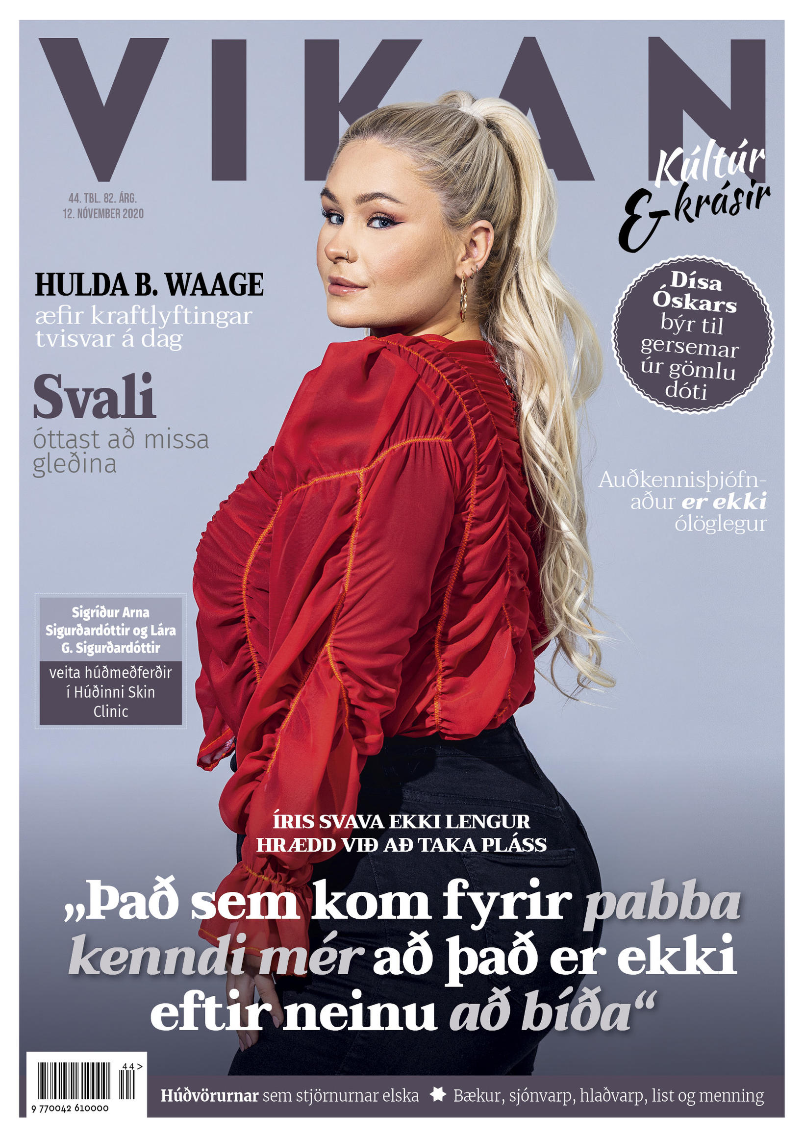 Íris Svava Pálmadóttir prýðir forsíðu Vikunnar.