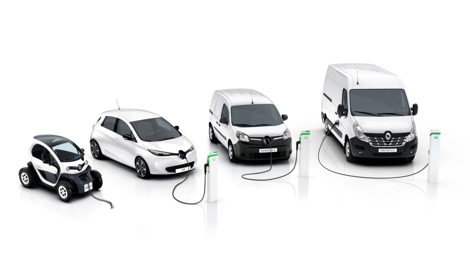 Frá vinstri: Renault Twizy, Zoe, Kangoo ZE og Master ZE.