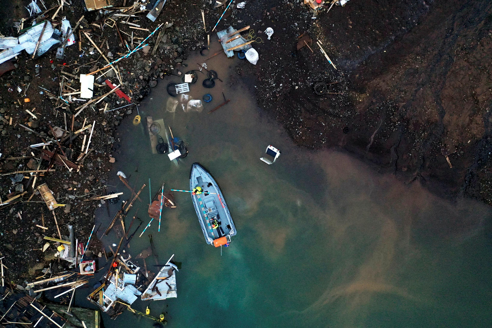 Debris in the ocean.