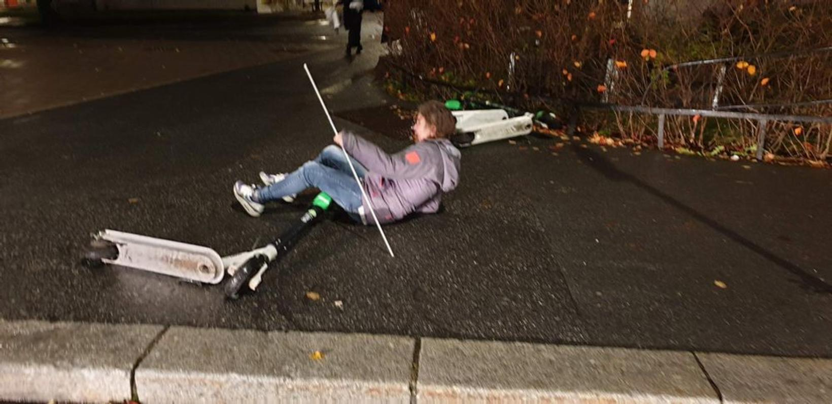 Toini Hämeenkorpi, 56 ára gömul blind kona, datt um rafmagnshlaupahjól …