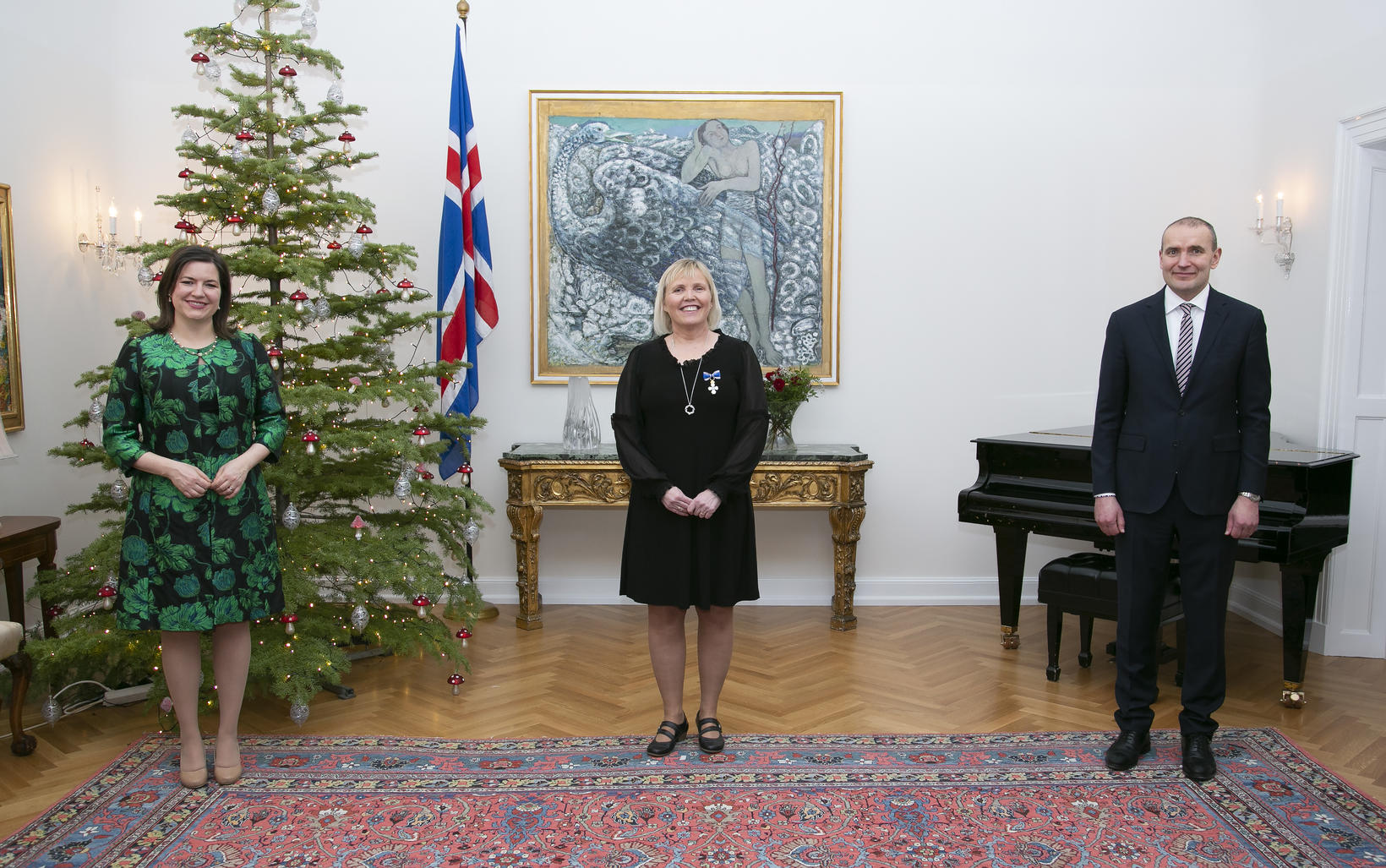 Vanda Sigurgeirsdóttir ásamt forsetahjónunum.