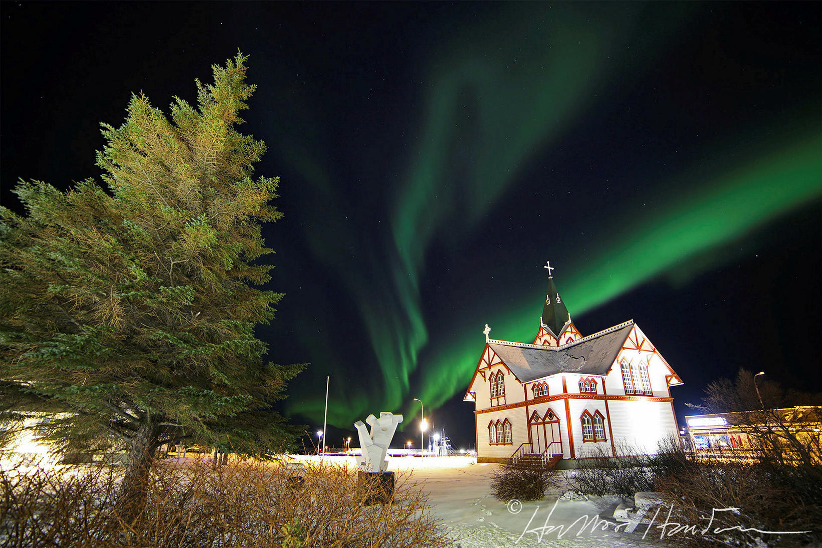 Húsavík Church, under the northern lights last night.