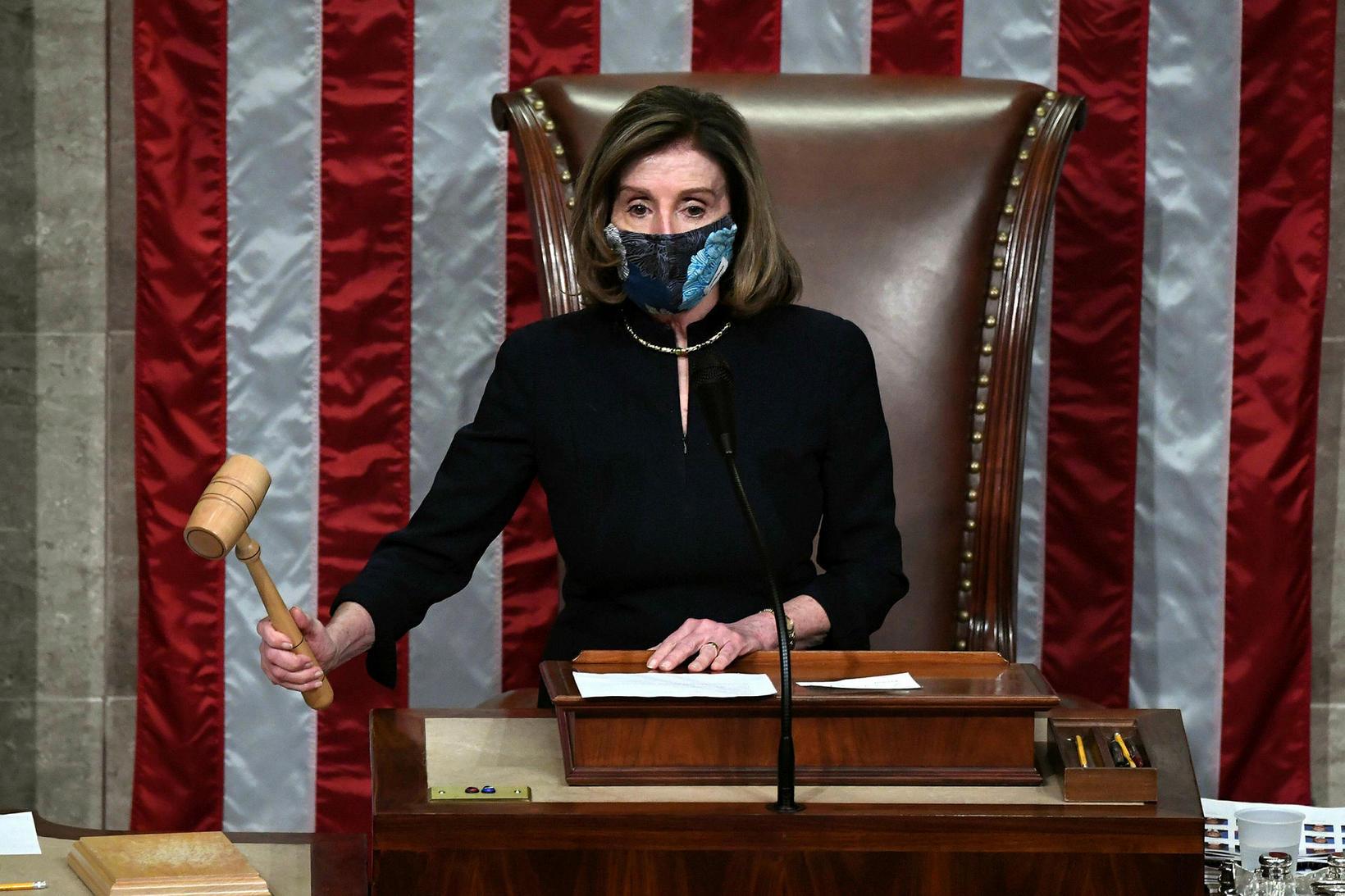 Nancy Pelosi, forseti fulltrúadeildarinnar, í kvöld.