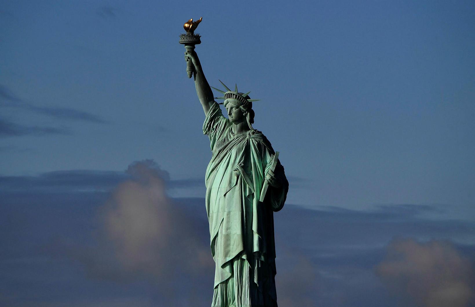 Frelsisstyttan fræga í New York.