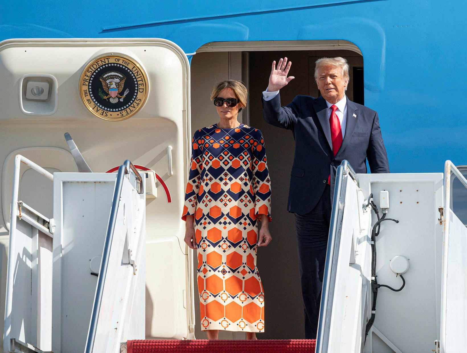 Melania og Donald Trump í Flórída.