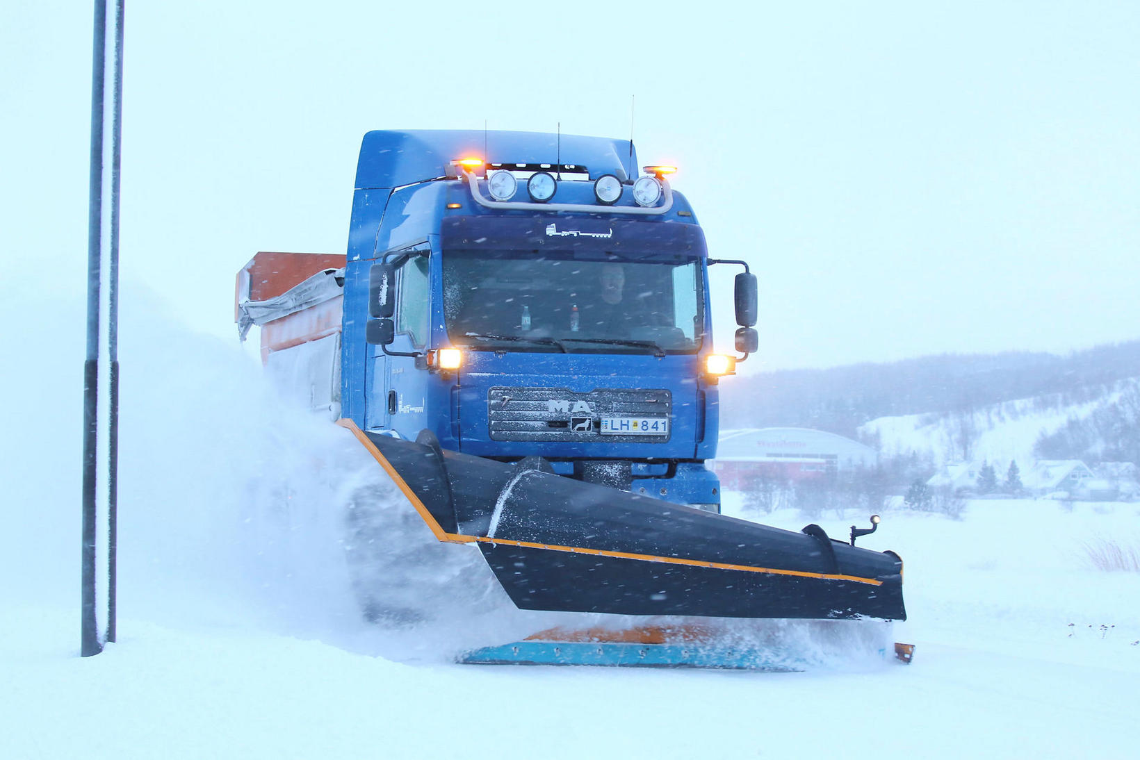 Snow removal in Akureyri on Friday.