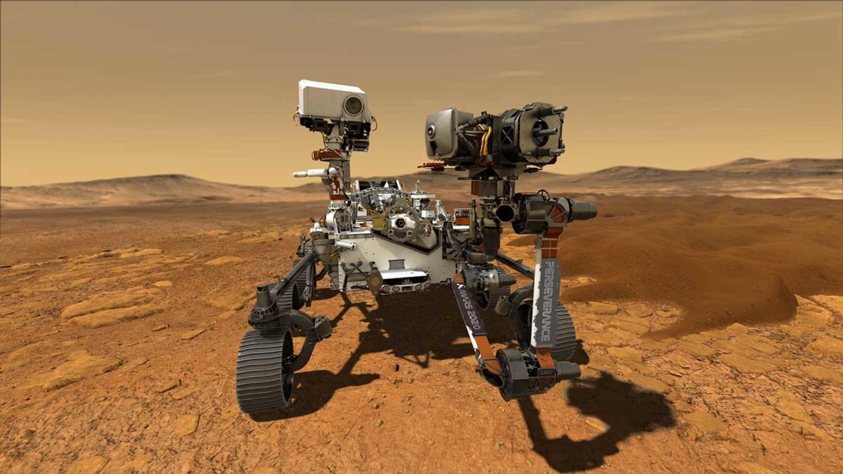 Perseverance byggir á Curiosity könnuðinum sem lenti á Mars árið …