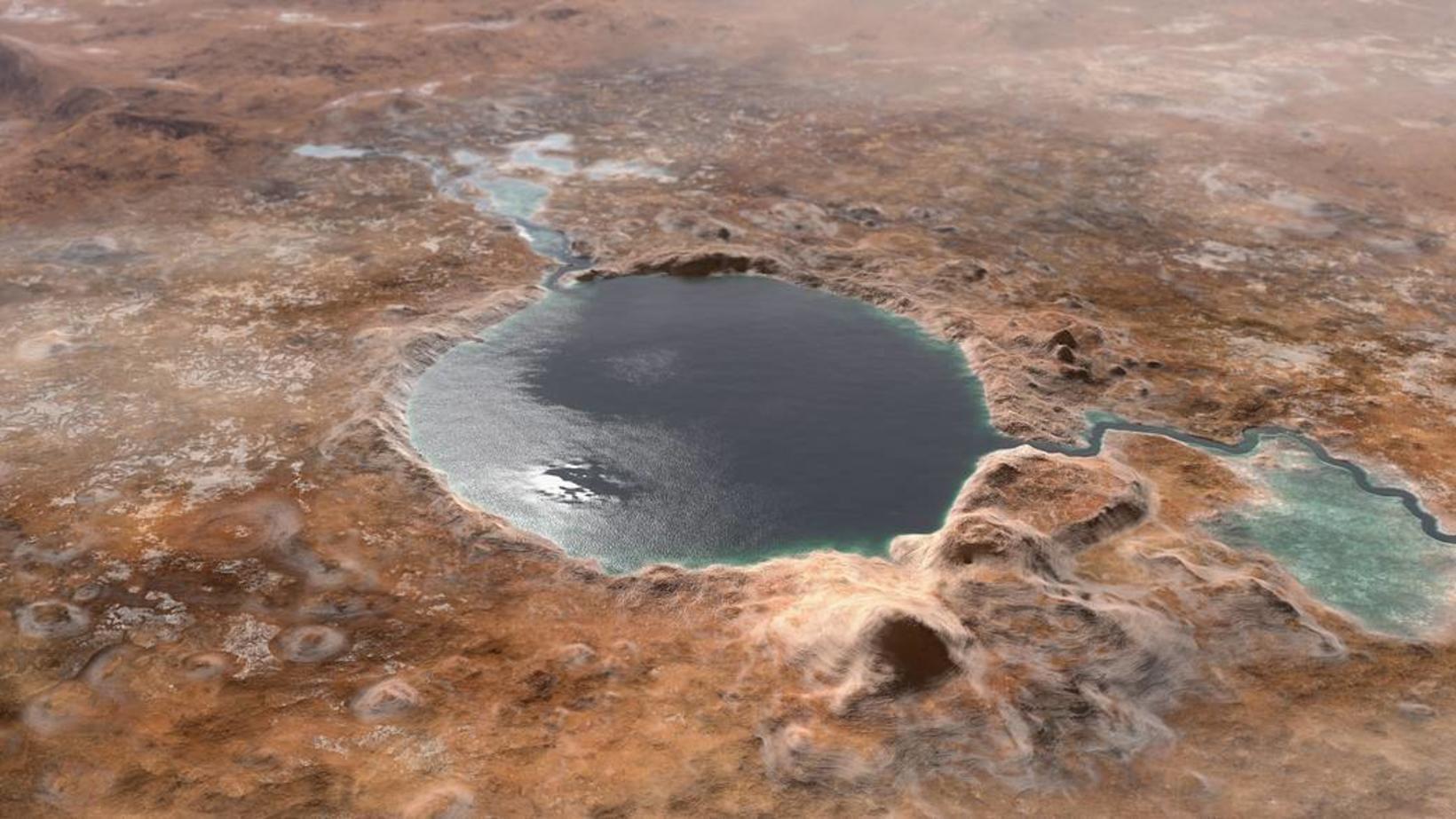 Tölvugerð mynd NASA af því hvernig Jezero-gígur gæti hafa litið …