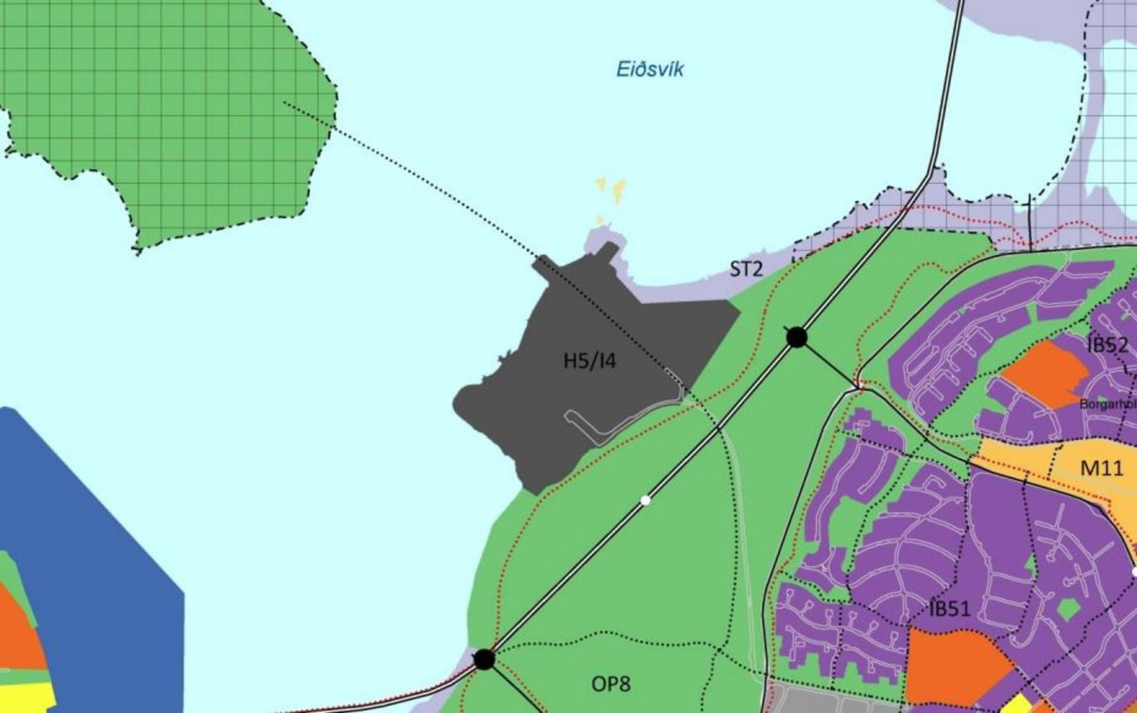 The location of the proposed bridge. Viðey island is in …