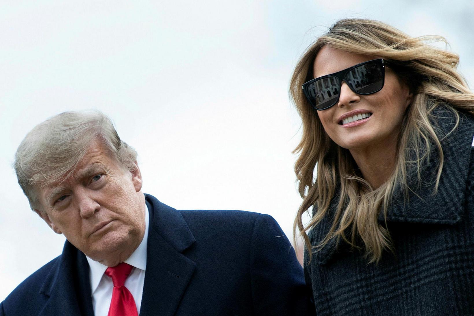 Fyrrverandi forsetahjónin Donald og Melania Trump.