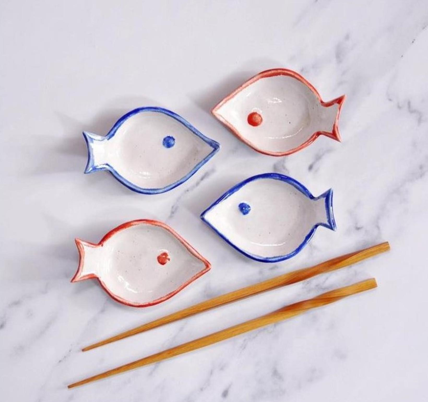 Sjúklega sætir sushi diskar.
