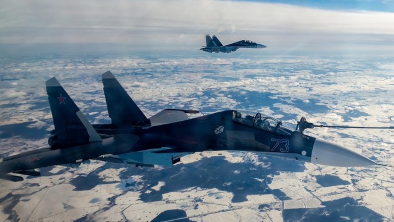 Rússneskar Sukhoj Su-35-orrustuþotur við æfingar yfir Eystrasalti. Að sögn ríkisfréttastofunnar …