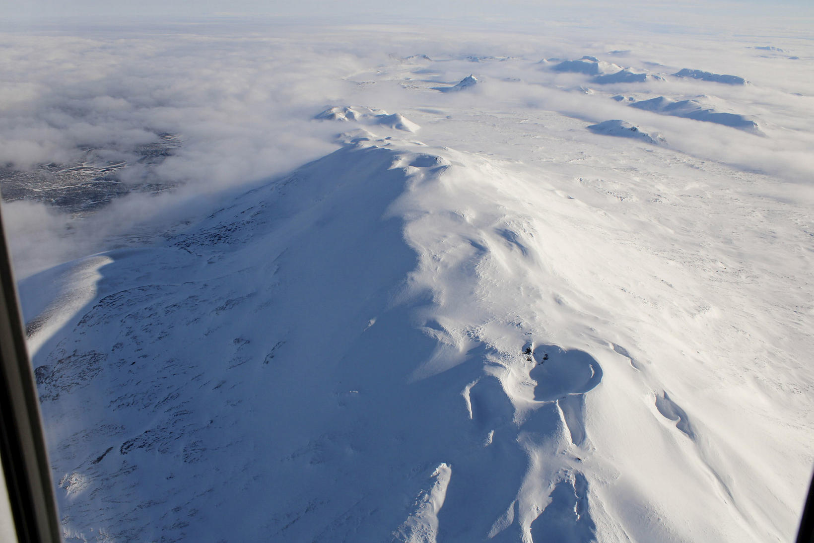 A view of Hekla volcano and its crater.