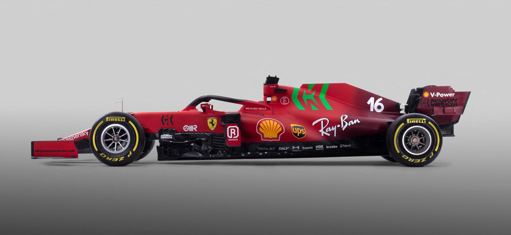 Keppnisbíll Ferrari á formúlutíðinni 2021.