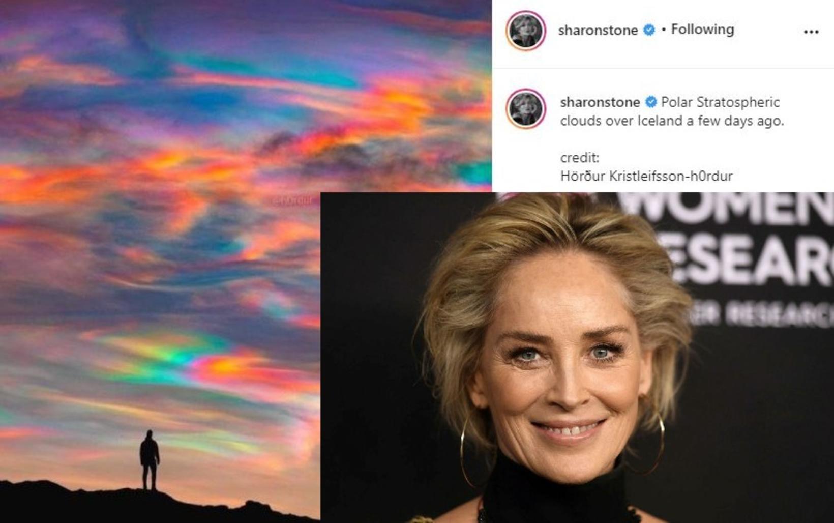 Sharon Stone deildi ljósmynd Harðar Kristleifssonar á Instagram-síðu sinni.