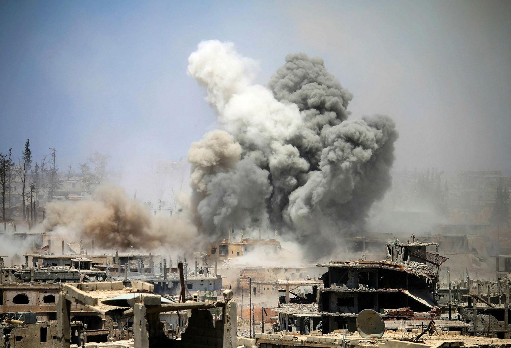 22. maí 2017 í sýrlensku borginni Daraa.