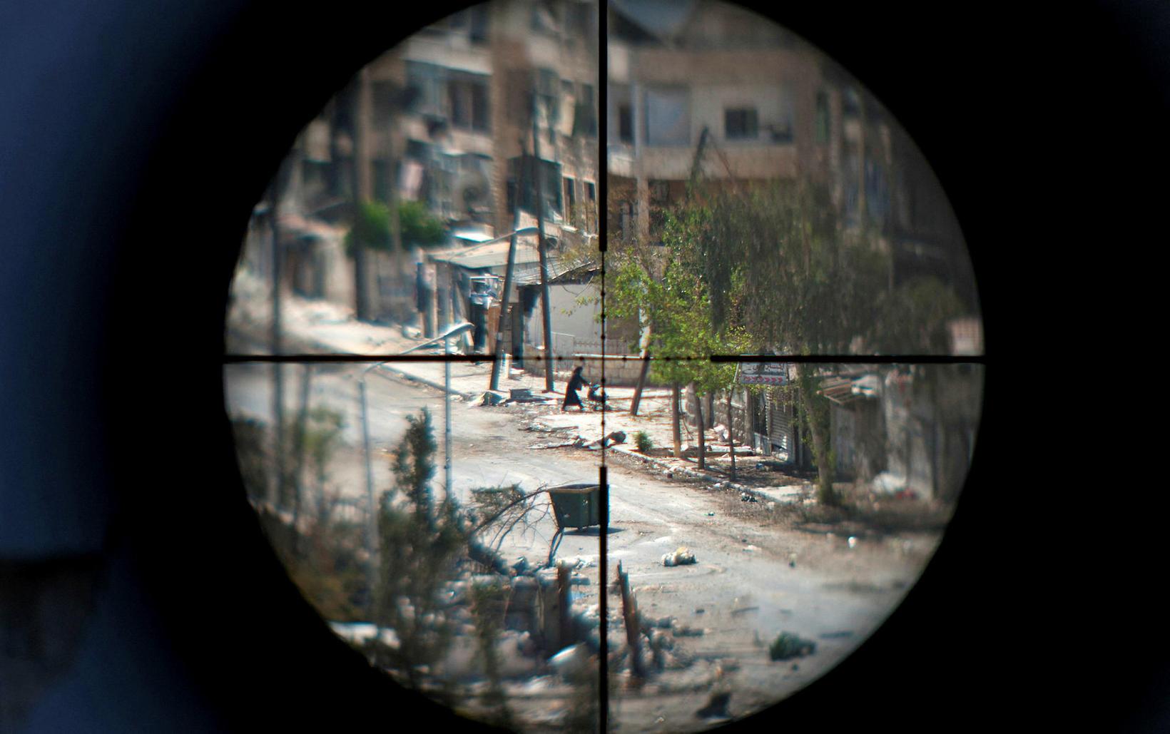 Þessi mynd er tekin í Saif al-Dawla hverfinu í Aleppo …