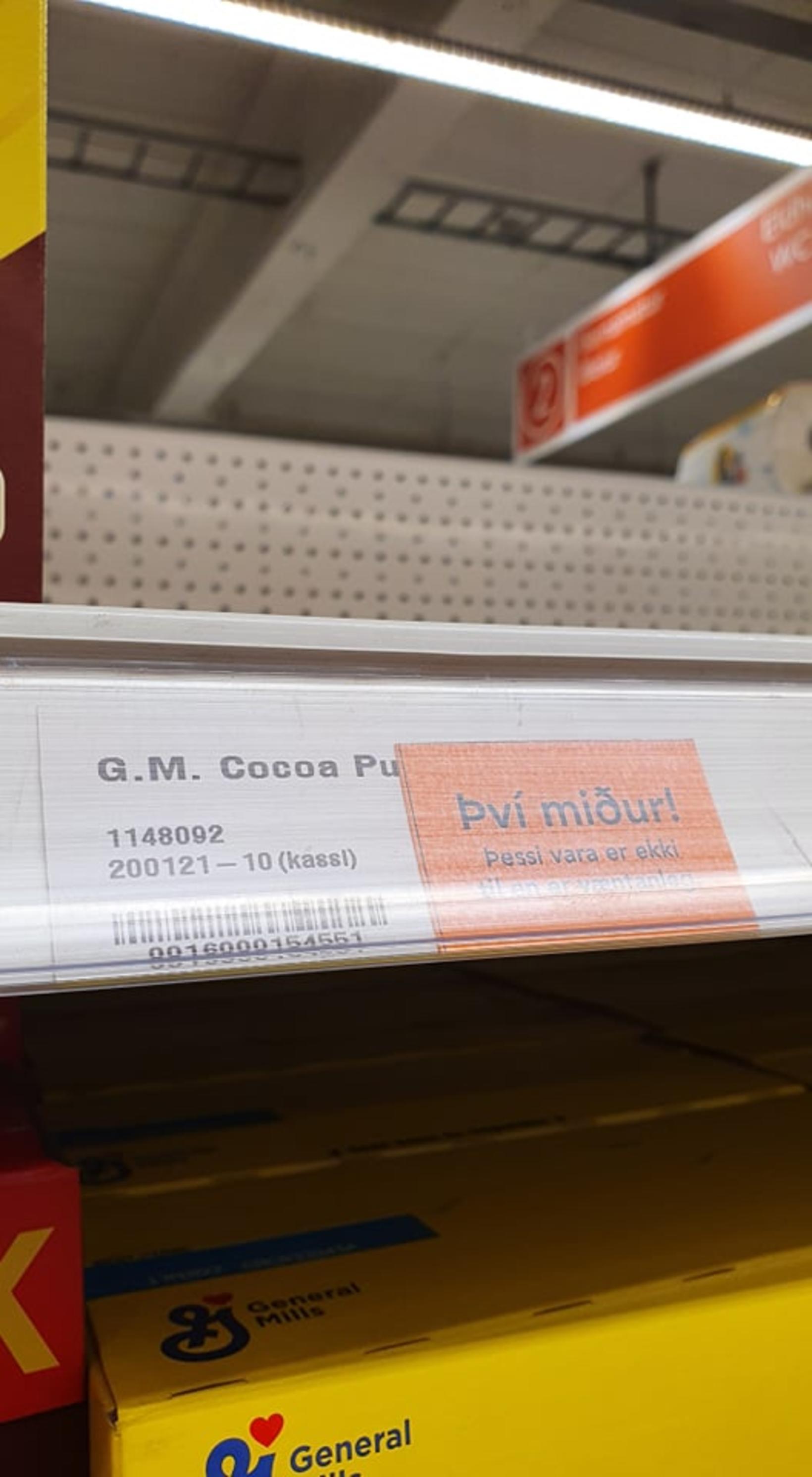Cocoa Puffs seldist upp í Hagkaupum í Skeifunni.
