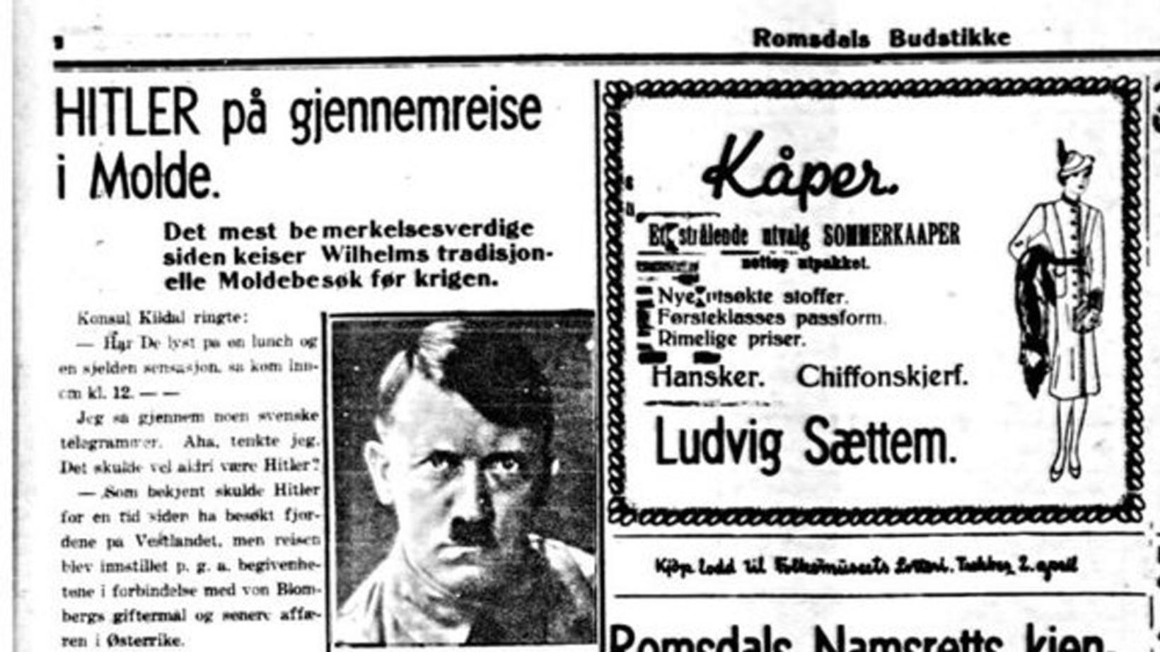 Hitler hugðist heimsækja Molde í apríl 1938. Þetta þótti ekki …