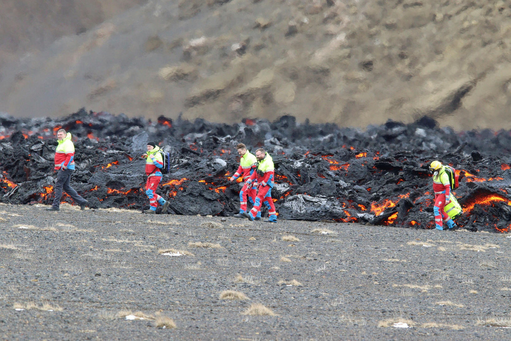 Rescue workers have monitored the area since the eruption started …