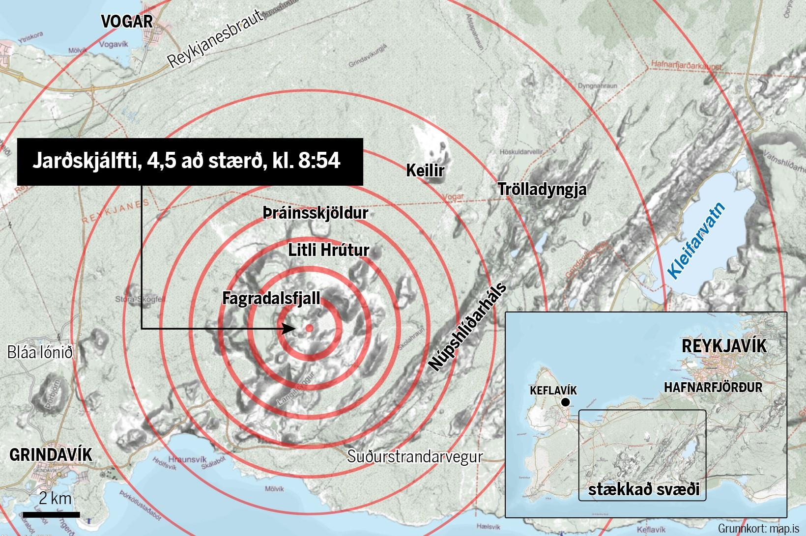 The location of the quake that hit just before 9 …