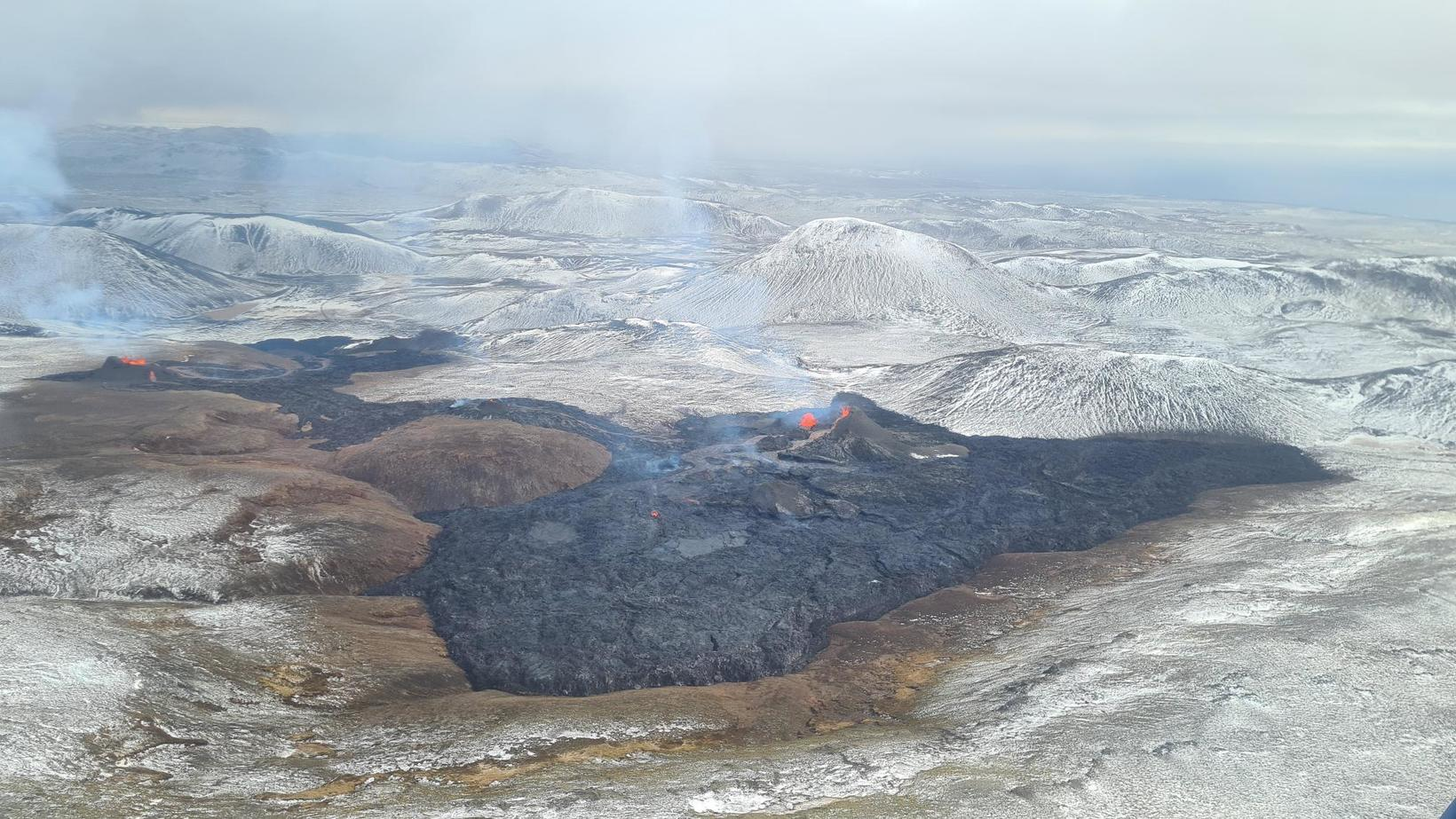 An aerial view of the lava stream.