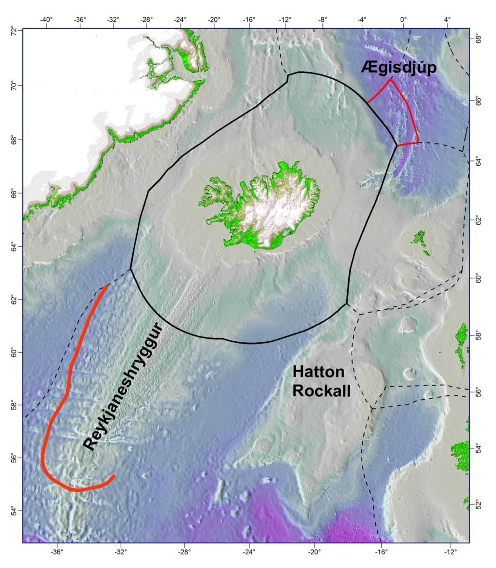 Svæðin sem hafa verið í greinargerðum Íslands frá 2009.