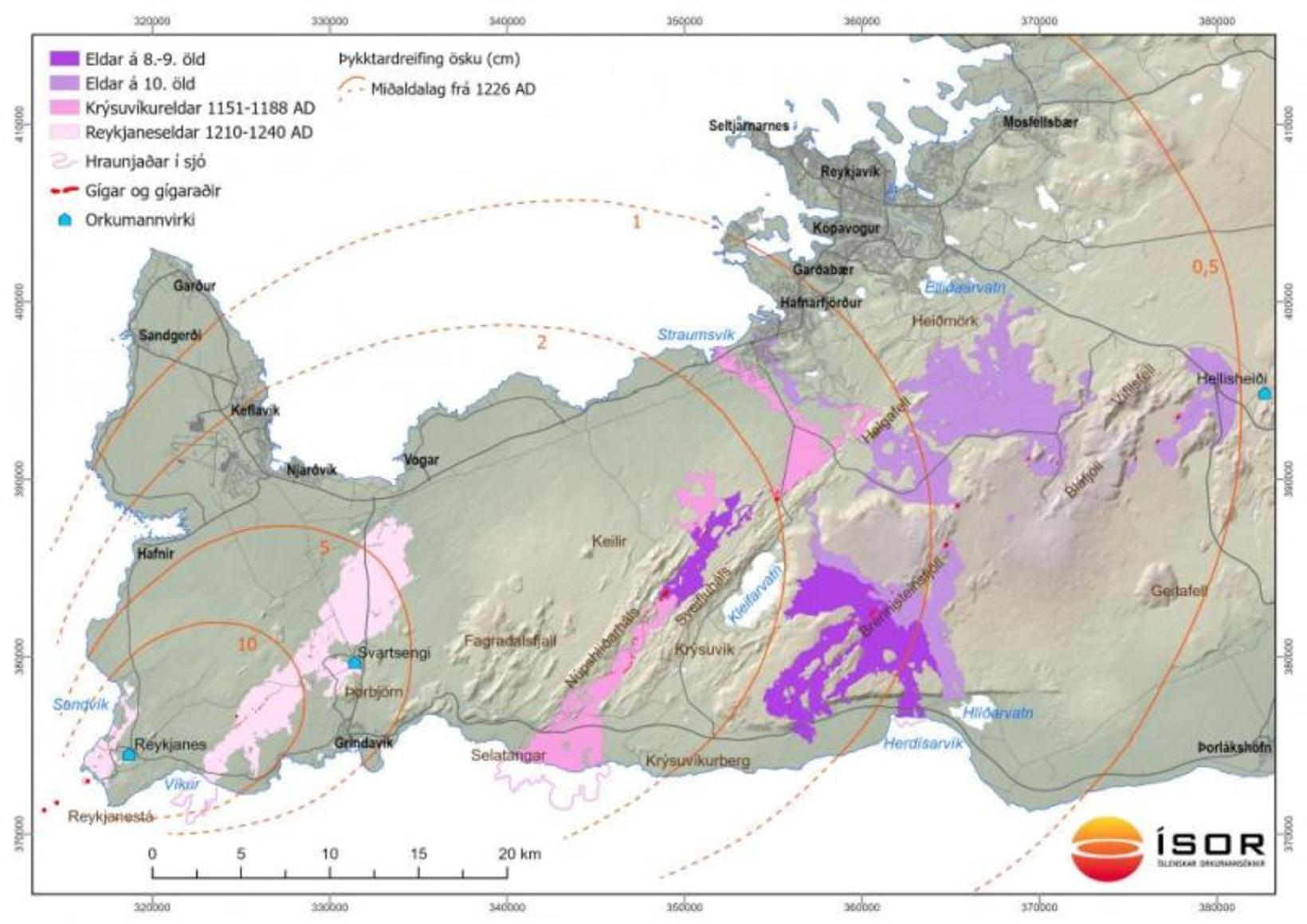 The map shows lava fields from the last volcanic period …