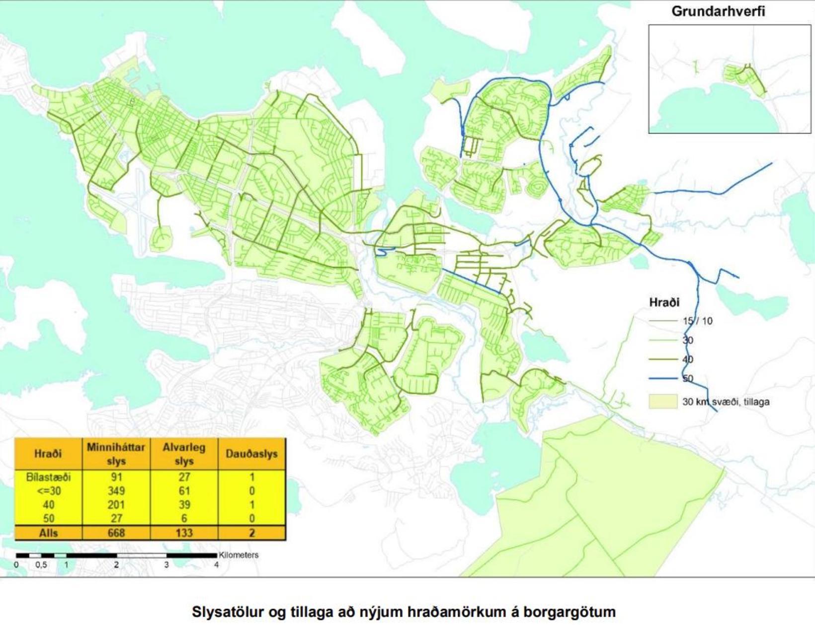 Hámarkshraði á götum í Reykjavík eftir breytinguna og fjöldi slysa …