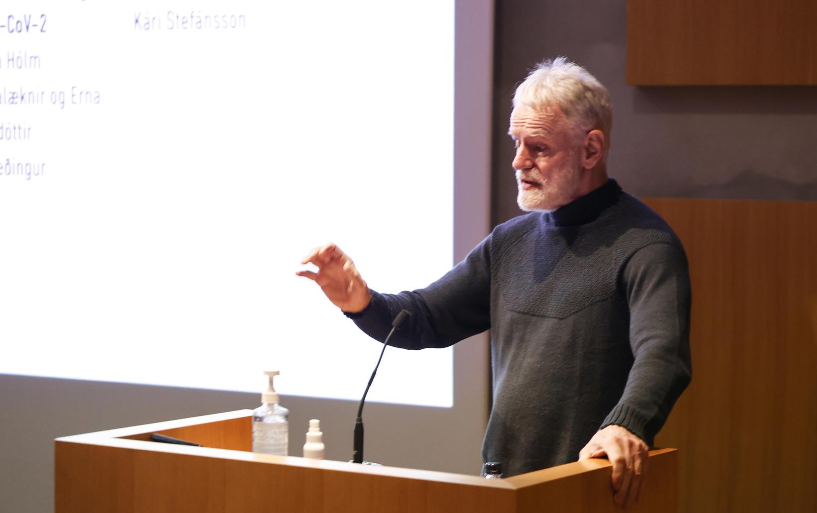 Kári Stefánsson, forstjóri Íslenskrar erfðagreiningar, á fundinum í dag.