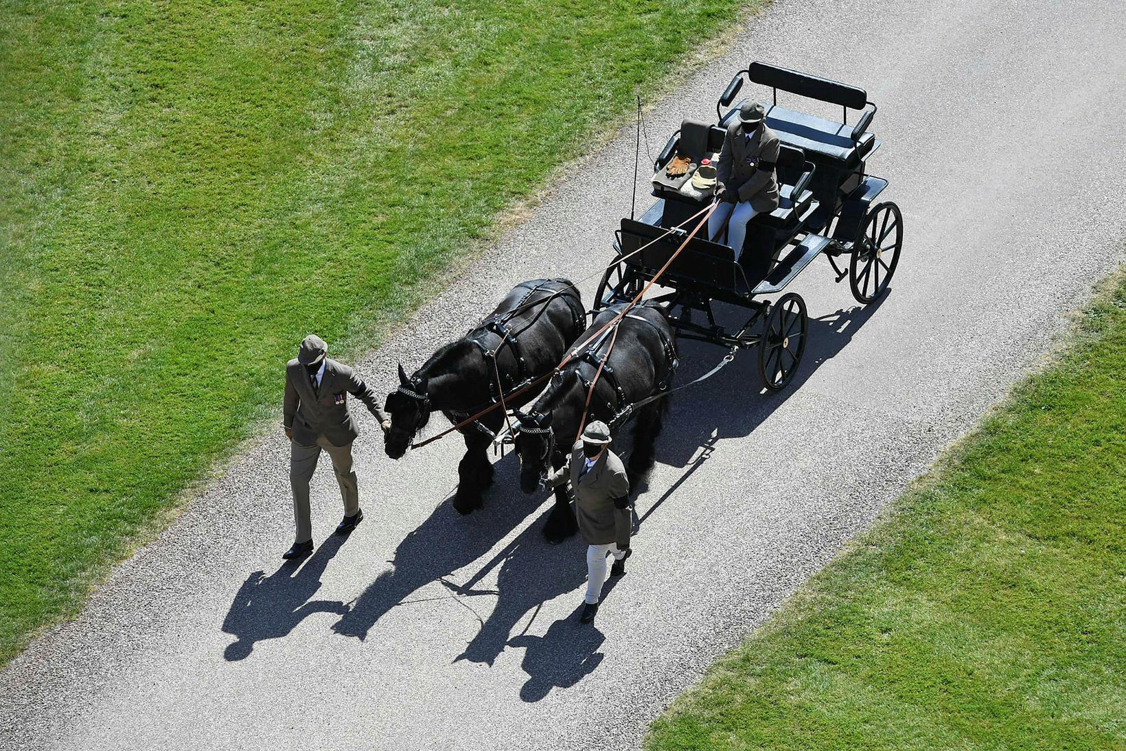 Hestakerran spilaði hlutverk í útför Filippusar prins.