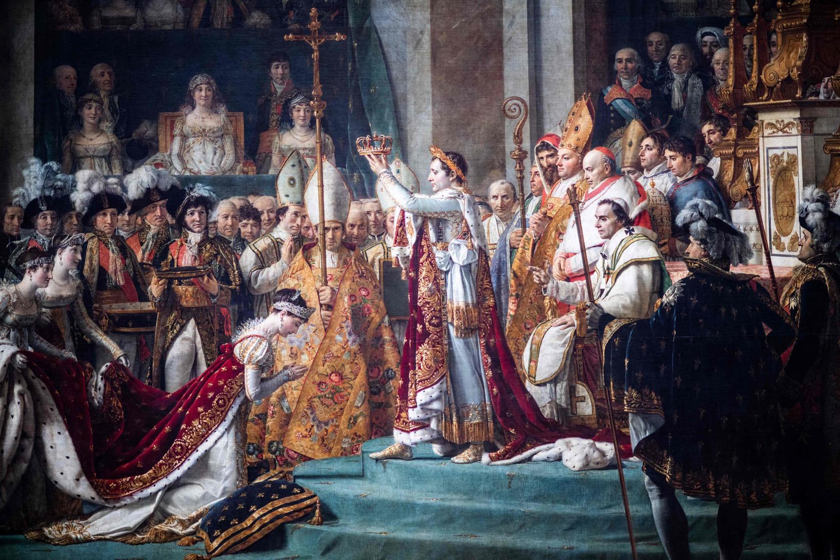 Málverk sem sýnir krýningu Napóleons Frakklandskeisara og Jósefínu keisaraynju í …