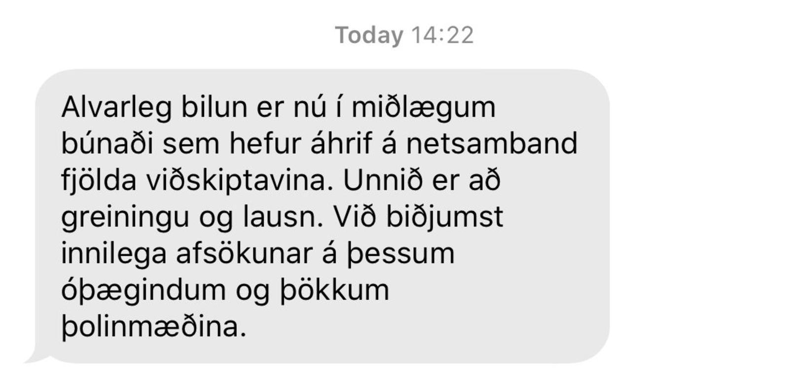 Skilaboð sem voru send á notendur Hringdu.