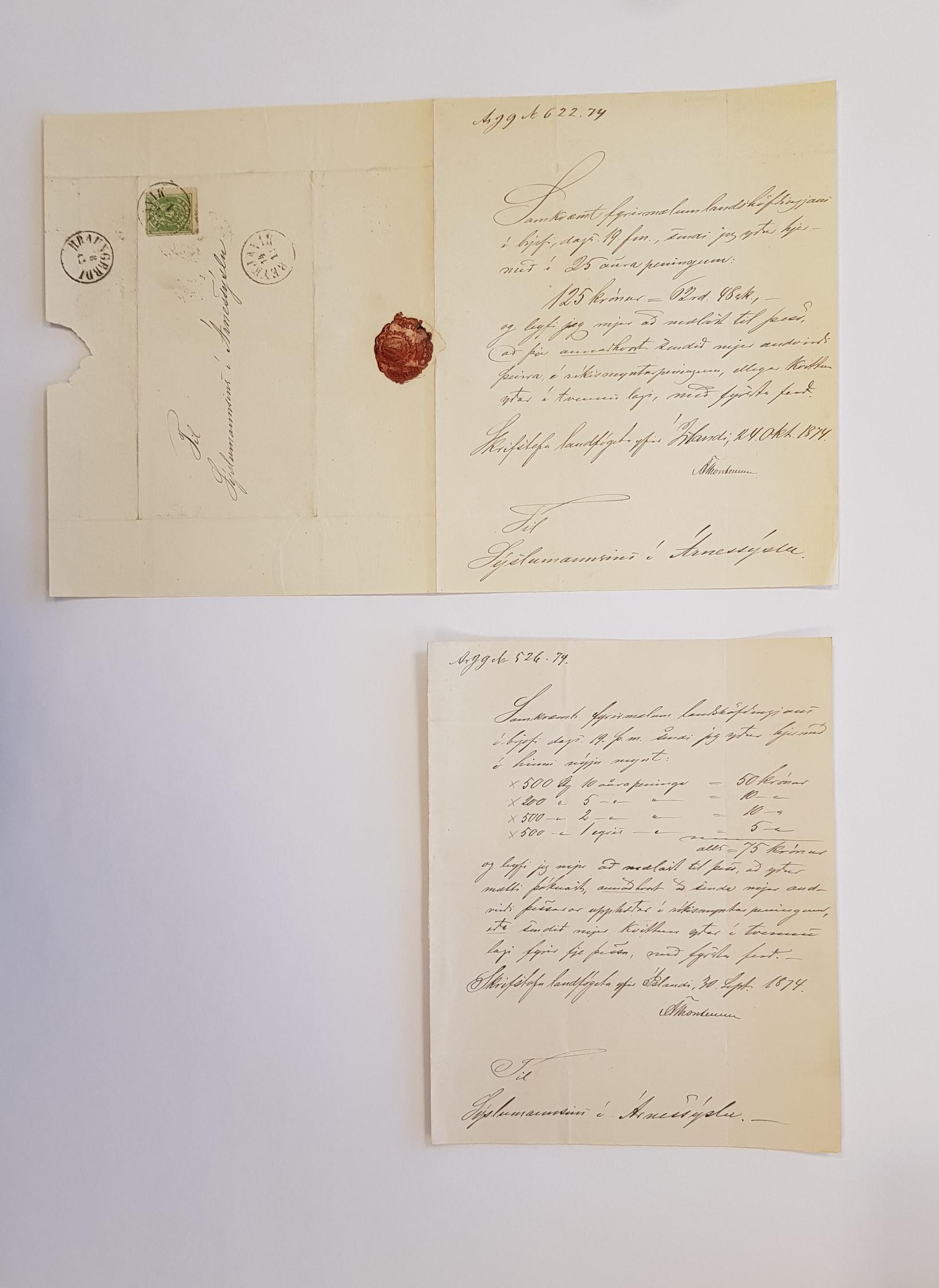 Bréf landfógeta frá 30. september 1874 og 24. október 1874 …
