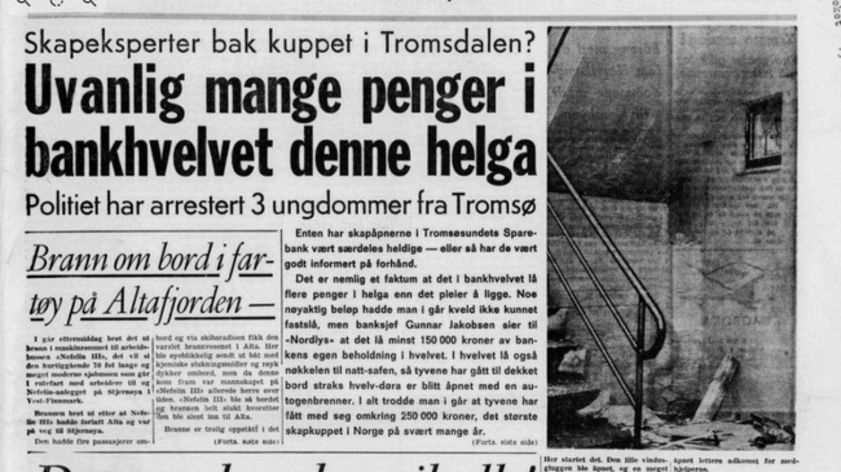 Frétt af innbrotinu í Tromsø aðfaranótt 24. ágúst 1970 í …